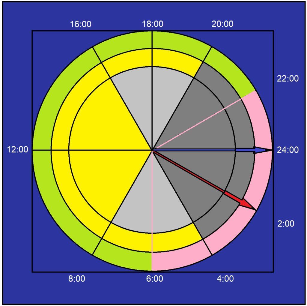 Symetrie dne a noci a asymetrie spánku vůči SEČ, variabilita dne a noci v průběhu roku